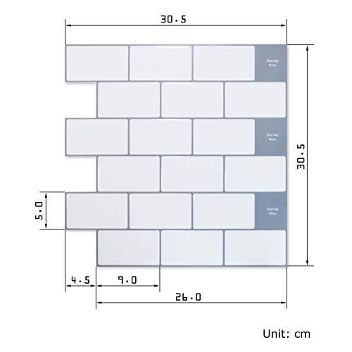 APSOONSELL3Dタイルシール立体壁紙シールセット30.5*30.5cm【4枚セット】洗面所キッチン模様替え防水防油防汚剥がせる壁紙レンガ凹凸壁紙シール賃貸OK白