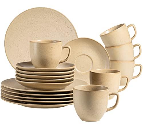 MÄSER 931863 Serie Happy Valley - Juego de café para 6 personas con aspecto vintage, 18 piezas con esmalte mate hecho a mano, color beige, porcelana, arena