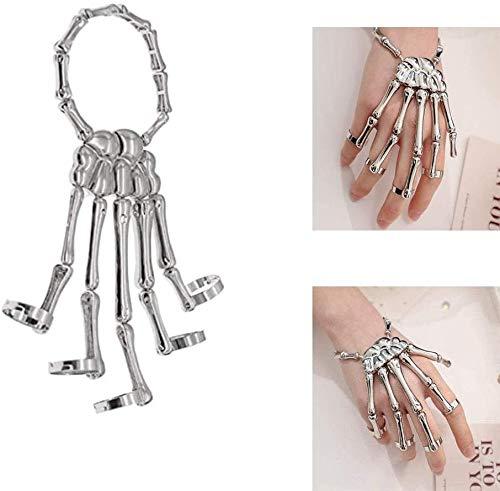 Feilium Skeleton Hand Bracelet, Skull Fingers Metal Skeleton Slave Bracelet Ring, Metal Skeleton Slave Bracelet, Hand Stretch Bracelet Slave Ring, (Silver)
