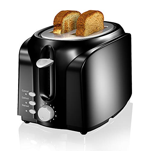 VersionTECH. 2 Slice Toaster, Double Extra Wide Slot Small Mini Toaster with Reheat/Defrost/Cancel Function for Small & Large Bread Slice, Auto Shut-off, 7 Shade Setting, Removable Crumb Tray