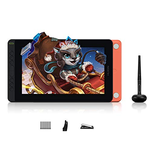 HUION Kamvas 12 Grafiktablett mit Bildschirm,2021 Neues Grafiktablett,11,6-Zoll-Grafikmonitor,Neuer Stift PW517,Unterstützung für Android-Geräte,für Remote Office oder Lernen(Starfish Orange)