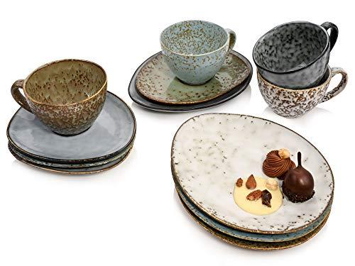 Kaffeeservice Athen 12 teiliges Kaffeetassen-Set für 4 Personen aus Steingut, Tassen, Untertassen und Dessertteller, erweiterbar, Alltag, besonderes Frühstück, Brunch, Outdoor Tee-Service von Sänger