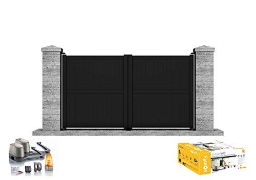 TELICA - Portail aluminium battant motorisé SOMFY 3,5 m x 1,705 m (Lxh) - noir - Clotura