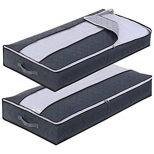 LLGBD Vale la pena tener – Paquete de 2 bolsas de almacenamiento de ropa, plegable y transpirable, bolsa de almacenamiento de ropa debajo de la cama con ventana transparente y cremallera fuerte