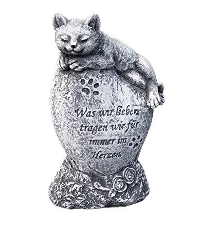 Grabschmuck Katze was wir lieben, Frost- und wetterfest, massiver Steinguss
