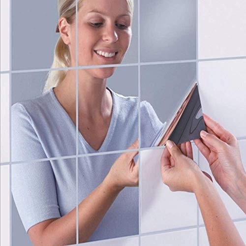 moinkerin 16 Piezas Espejo Pegar Adhesivo Espejo Papel Efecto Espejo para Pared para el Hogar, la Pared de la Sala de Estar, la Pared del Dormitorio(No es un Espejo Real, Solo Apto para Decoración)