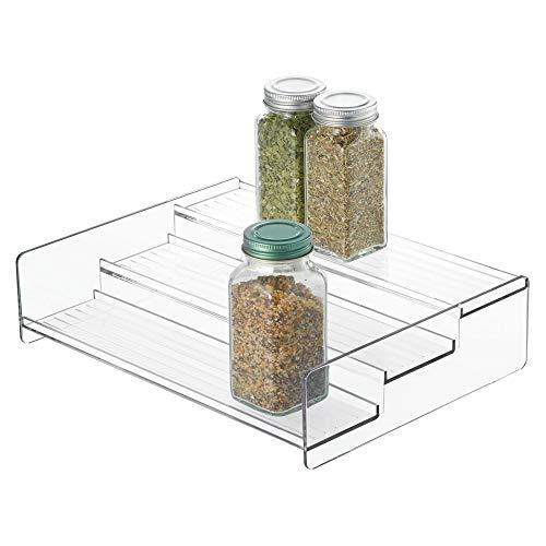 InterDesign Linus Gewürzregal, Küchenregal mit 3 Ebenen aus Kunststoff, durchsichtig