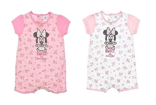 Minnie Mouse Baby Mädchen Kurzarm Body Strampler Strampelanzug, Farbe:Weiß, Größe:74 (12 Monate)