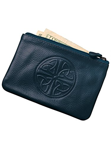 ili New York 6413 Leather Coin Purse with Key Ring Inside (Jeans Blue)