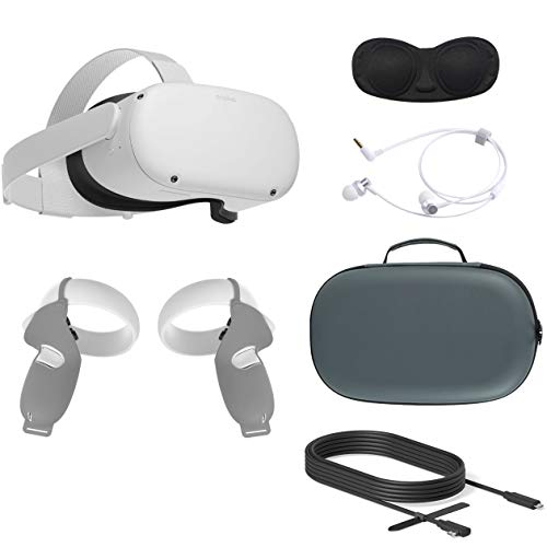 2020 Oculus Quest 2 All-in-One VR Headset, 64GB SSD, Glasses Compitble, 3D Audio, Mytrix Carrying Case, Earphone, Oculus Link Cable (10 Ft), Grip Cover, Lens Cover