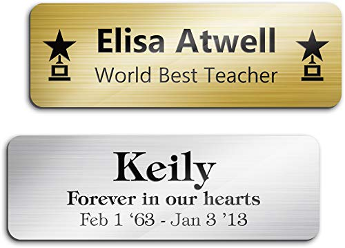 Engraved Name Plate Customized and Personalized, 1' x 3', 18 Color Options, Laser Engraved, Classic Collection, USA Made by MY SIGN CENTER
