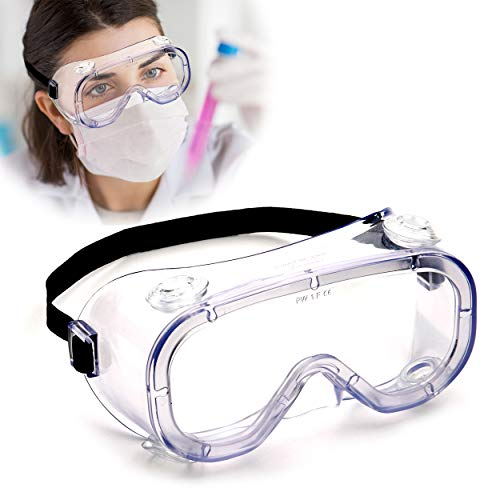 Safety Goggles (1 PC), Eye Glasses Anti-Fog Protection-Medical Goggles, Chemical Splash Proof, Fits Over Eyeglasses, Unisex Wide Vision Clear Protective Goggles for Lab, Medical, Nurses, Construction