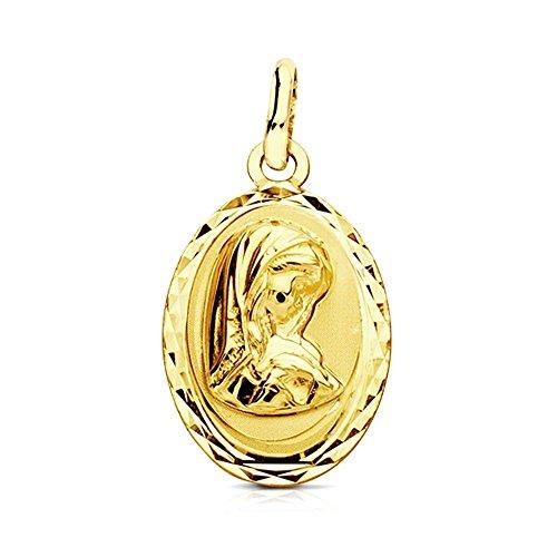 Medalla Oro 9K Virgen Niña 19mm. Ovalada Cerco Tallado Centro Liso