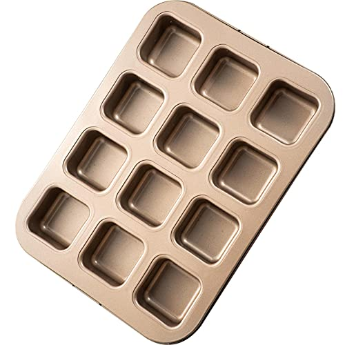 Brownie Pan, Mini Square Muffin Pan Nonstick 12 Cavity Small Cupcake Pan Individual Brownie Mold for Baking Brownie Muffin Cupcake Keto Fat Bombs, Great for Halloween, Christmas
