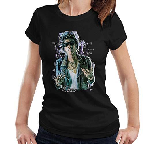 VINTRO Rapero Wiz Khalifa Camiseta de Mujer Retrato Original de Sidney Maurer