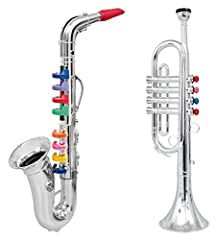 These toy saxophone with its 8 keys/notes and Trumpet with its 4 keys/notes produces real saxophone and trumpet sound Each of the keys have a different note sound. The keys are color coded so children can play songs that are printed on the back of th...