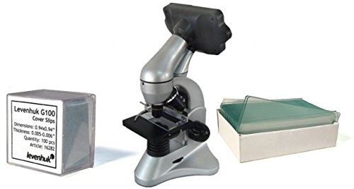 Levenhuk D70L Digital Biological Microscope, Silver, with Blank Slides and Cover Slips 66826-KIT1