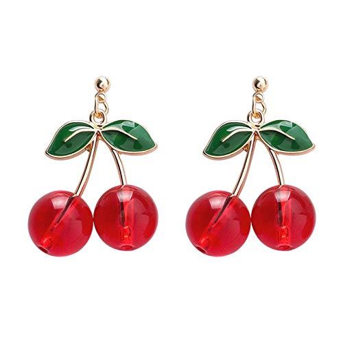 SALAN Pendientes De Gota De Cereza Dulce para Mujer, Pendientes Colgantes De Frutas Rojas Frescas A La Moda, Regalos De Temperamento, Joyería