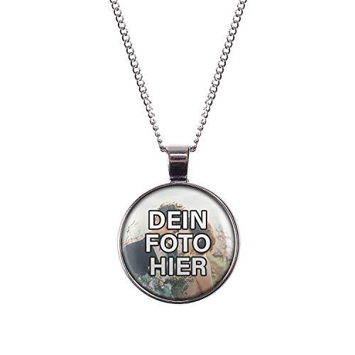 Mylery Hals-Kette mit Wunsch-Motiv eigenes Wunsch-Foto Bild oder Design hochladen Silber 28mm