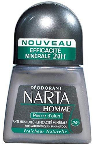 Narta – Desodorante de bola para hombre con piedra de alumbre – Eficiencia 48 h – 50 ml