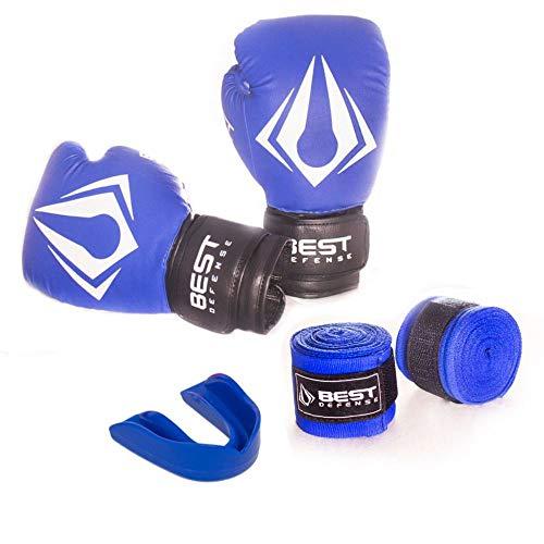 Kit Boxe Muay Thai Luva 14oz + Protetor Bucal + Bandagem 3m - Azul