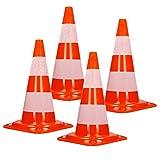 ECD Germany 4 x Cono Segnaletico Spartitraffico Pilone Traffico Stradale 50cm Arancione-Bianco Piloni Strisce Riflettenti Coni Avvertimento di Traffico Cono di Sicurezza Stradale Rifrangente Bicolore