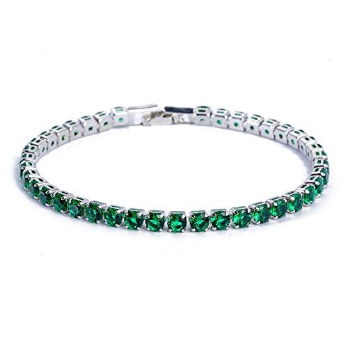 Shangwang - Pulsera redonda de plata de ley 925 de 4 mm para regalo de cumpleaños de mujeres, color verde
