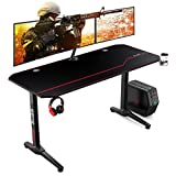 AuAg 55' Enhanced Larger Gaming Desk with Free Mouse Pad, Cup Holder Headphone & Speaker Hook, Powerful Cabling Management Home Office Computer PC Streamer Desk