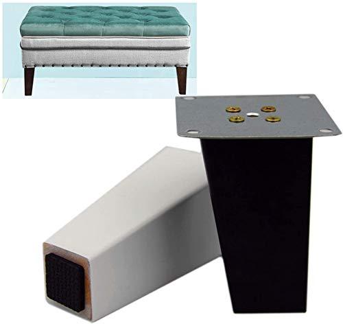 Patas para muebles, 4pcs Muebles de servicio pesado Piernas Patas de reemplazo - pies cuadrados de sofá de madera dura, con piezas de montaje, fácil de instalar, capacidad de carga fuerte, soporte de