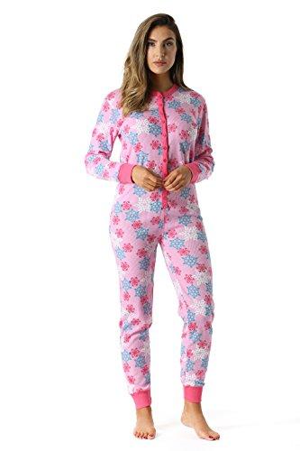 6363-PNK-XXL #FollowMe Women's Solid Thermal Henley Onesie, Pink, XX-Large