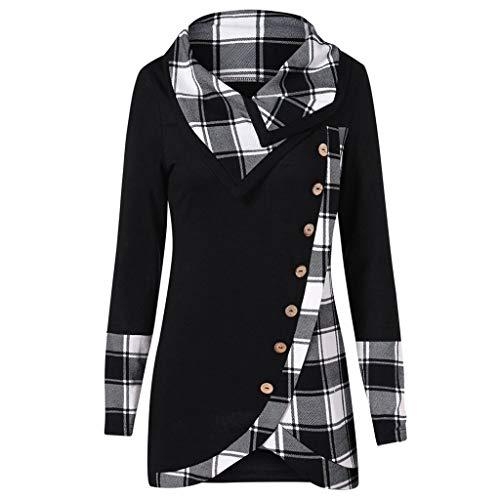 Lazzboy Bluse Frauen Langarm Plaid Rollkragen Tartan Tunika Sweatshirt Pullover Tops Damen Cowl Neck Asymmetrisch Kariert T-Shirt(Schwarz,XL)