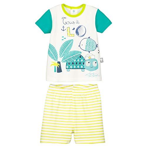 Petit Béguin - Ensemble t-shirt et short bébé garçon Nino - Couleurs - Ecru, Longueur des manches - Manches courtes, Taille - 18 mois (86 cm)