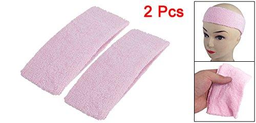 Sourcingmap Terry Cloth Elastic Sport Headband, Light Pink 7 cm - 2-Piece