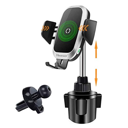 Cup Holder Phone Mount Wireless Car Charger, Auto Clamping QI Fast Wireless Charging Truck Bus Cell...