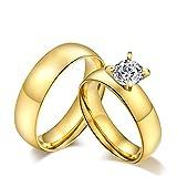 ROMQUEEN JOYERÍA 2 Piezas Anillo de 6MM Alianzas en Oro Blanco Anillo de Compromiso Anillo Mujer/Hombre de Oro(la Talla Mujer:15 & Hombre:17)
