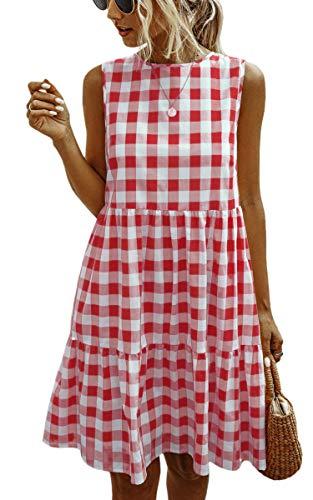 ECOWISH Women Dresses Plaid Sleeveless Summer Casual Sundress A Line Loose Swing T Shirt Mini Gingham Dress Red Medium