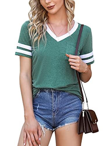 Doaraha Camiseta de Mangas Cortas para Mujer, Camiseta de Béisbol de Mujer, Camiseta Casual con Bolsillo de Cuello en V para Mujer, Camiseta Corta de Mangas a Rayas para Verano, Verde, XL