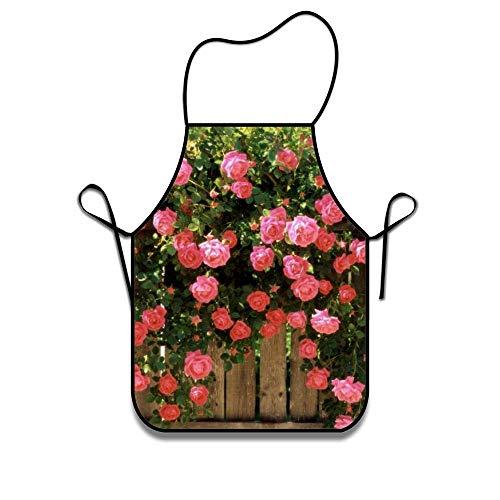 N / A Design Chef Schürze für Frauen Männer Friseur Kochen Crafting Red Roses Zaun