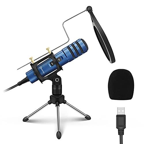 USB Mikrofon für PC, EIVOTOR 192kHz/24Bit Desktop Computer Microphone mit Ständer Kondensator Laptop Aufnahme Mikrofon für PS4,Streaming,Discord,YouTube,Skype,Podcast,Konferenz, Windows,Linux,Mac OS