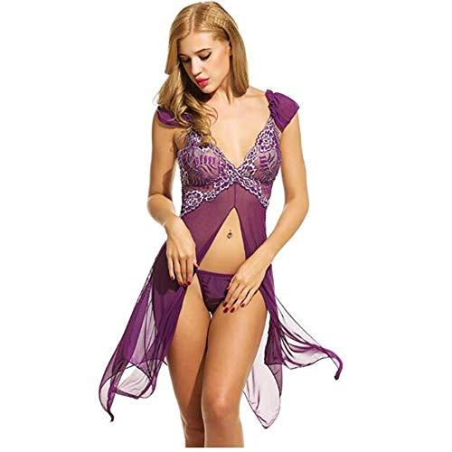 Yiyu Damen Sexy Dessous Spitze Negligee,Kurz Kimono Robe Set Transparente Babydoll Nachtwäsche Frauen Rückenfrei Unterkleid Dessous x (Color : Purple, Size : XL)