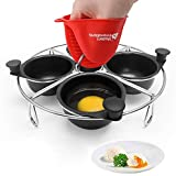Modern Innovations Stainless Steel 4-Cup Egg Poacher Tray - Complimentary Silicone Mitt - Egg...