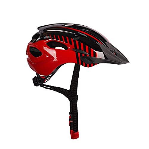 Pkfinrd Casco de Bicicleta, Casco de Ciclo de Seguridad Ultra Ligero Ajustable con luz Trasera Adecuada para Ciclismo Adulto/Hombres/Mujeres/Juventud (se Adapta a los tamaños de Cabeza 54-62cm)