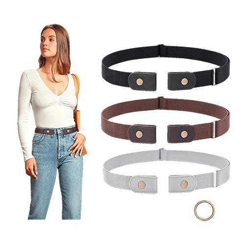 3 Pieces No Buckle Belt Women Belt SUOSDEY Buckle Free Invisible Elastic Belt for Jeans Pants,black/coffee/gray,24-33