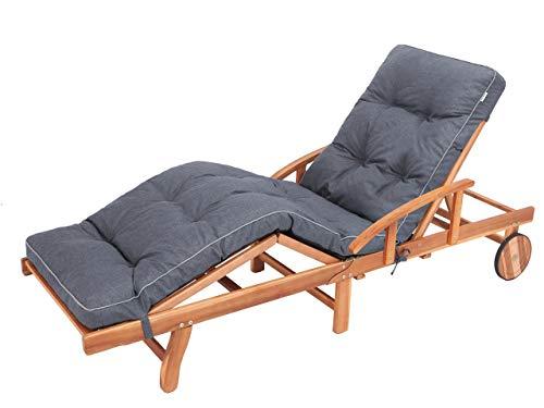 Liegenauflage, Auflage Gartenliege (Navyblau) 201 x 55 cm, 8 cm dick, Auflagen für Deckchair, Bequeme Polsterauflage für Sonnenliege, Liegestuhl