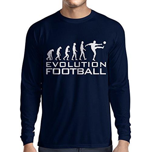 lepni.me Camiseta de Manga Larga para Hombre La evolución del fútbol - Camiseta de fanático del Equipo de fútbol de la Copa Mundial (Medium Azul Blanco)