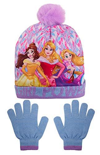 Disney Mädchen Prinzessinnen-Bommelmütze + Glitzerhandschuhe Mädchen Power-Wolliges Winterset Weihnachtsgeschenk Gr. 52 cm, violett