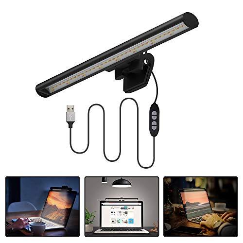 Quntis Laptop Monitor LED Lampe, Augenschonende USB Lampe für Notebook Bildschirme, Platzsparende leichte Schreibtischlampe Arbeitslampe für Büro Zuhause, einstellbare 10 Helligkeits- und 3 Farbstufen