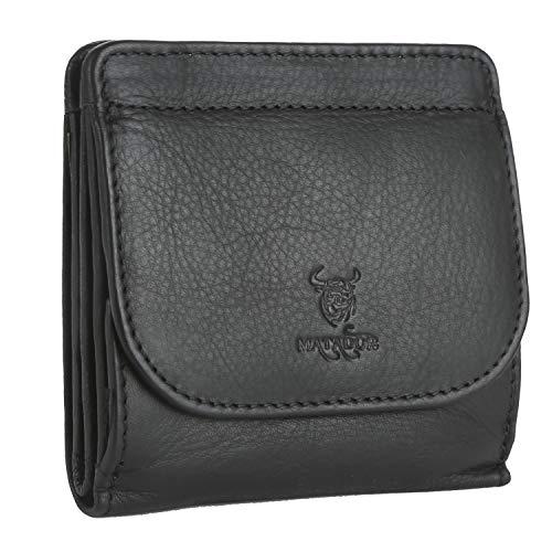 MATADOR Klein Geldbörse Herren Echt Leder Portmonee Damen TüV geprüfter RFID & NFC Schutz 10.5 x 10 x 2.5 cm(Schwarz)