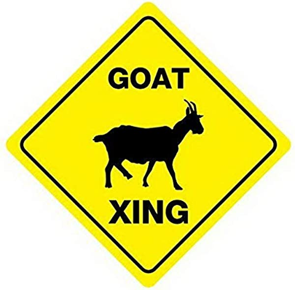 Weytff Goat Crossing Road Sign Funny Metal Sign Good For Indoor And Outdoor Display 12X12 Inches