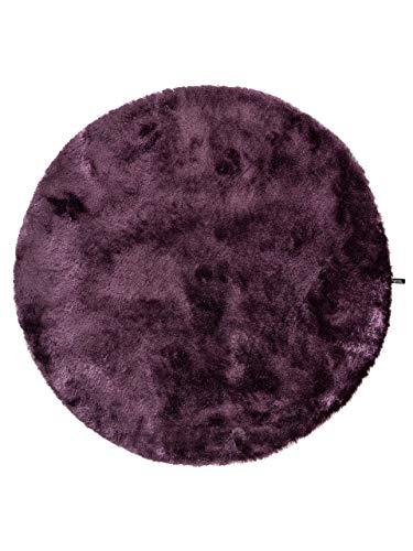 Benuta Teppiche: Shaggy Langflor Hochflor Teppich Whisper Lila ø 200 cm rund - schadstofffrei - 100% Polyester - Uni - Handgetufted - Wohnzimmer